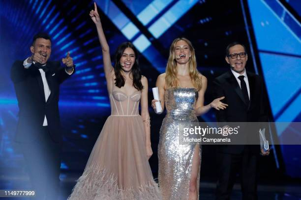 Hosts Assi Azar Lucy Ayoub Bar Refaeli and Erez Tal and live on stage during the 64th annual Eurovision Song Contest held at Tel Aviv Fairgrounds on...