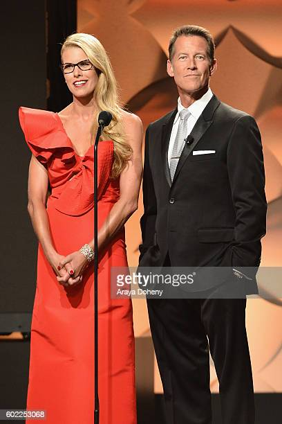 Hosts Beth Ostrosky Stern and James Denton speak onstage during the Sixth Annual American Humane Association Hero Dog Awards at The Beverly Hilton...