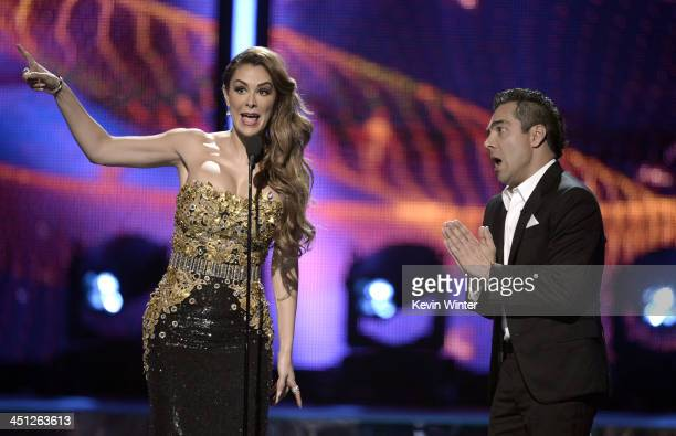 Hosts Blanca Soto and Omar Chaparro speak onstage during The 14th Annual Latin GRAMMY Awards at the Mandalay Bay Events Center on November 21 2013 in...