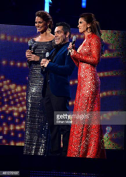 Hosts Blanca Soto Omar Chaparro and Lucero speak onstage during the 14th Annual Latin GRAMMY Awards held at the Mandalay Bay Events Center on...