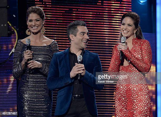 Hosts Blanca Soto Omar Chaparro and Lucero speak onstage during The 14th Annual Latin GRAMMY Awards at the Mandalay Bay Events Center on November 21...
