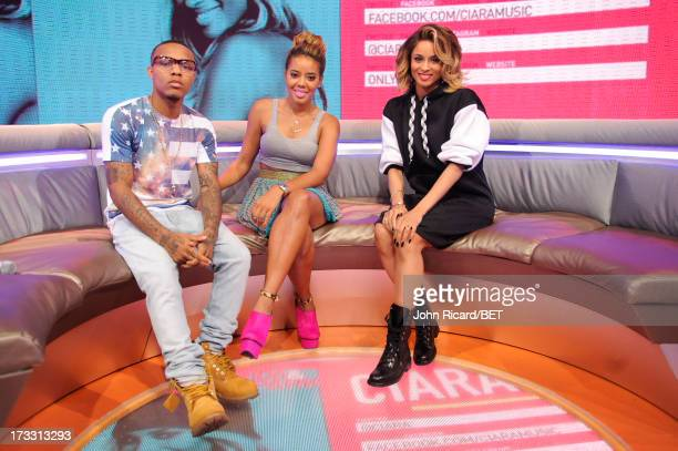Hosts Bow Wow and Angela Simmons with Ciara at BET's 106 Park at BET Studios on July 10 2013 in New York City