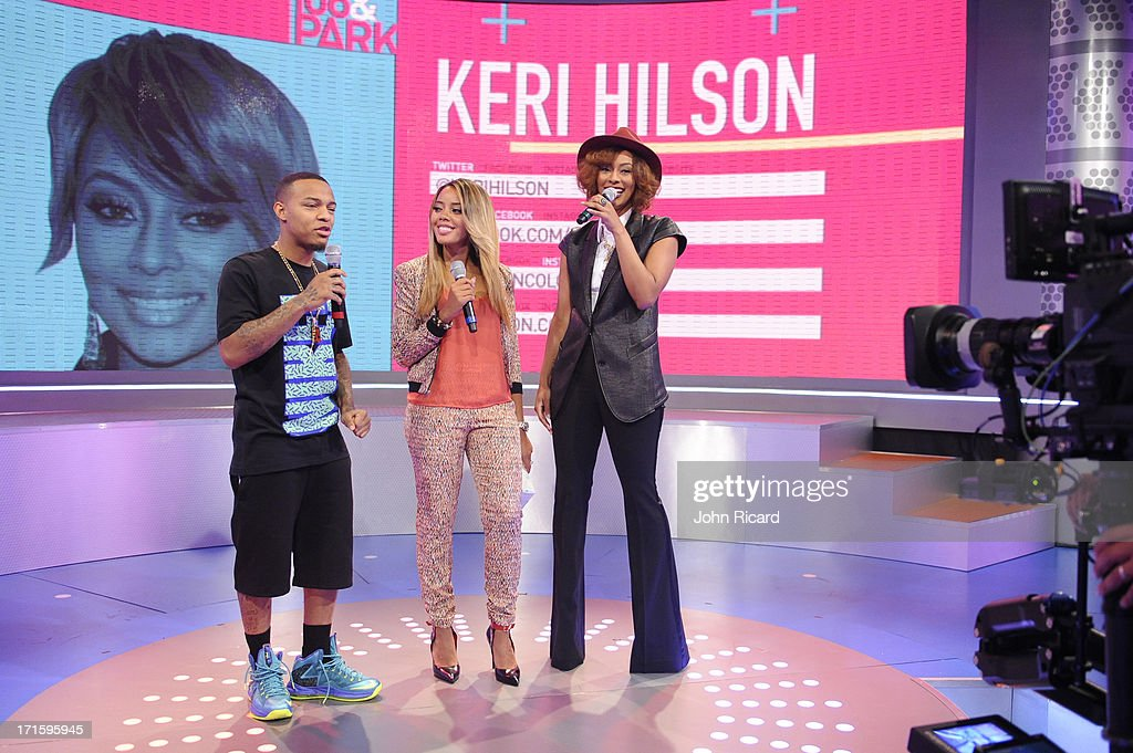Hosts Bow Wow, Angela Simmons with Keri Hilson at BET's '106 & Park' at BET Studios on June 26, 2013 in New York City.