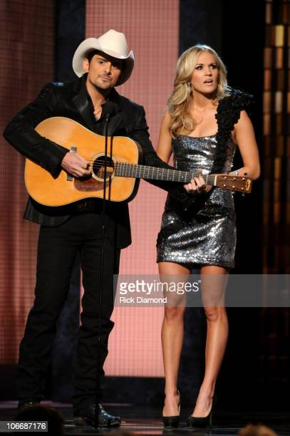 Hosts Brad Paisley and Carrie Underwood perform onstage at the 44th Annual CMA Awards at the Bridgestone Arena on November 10 2010 in Nashville...