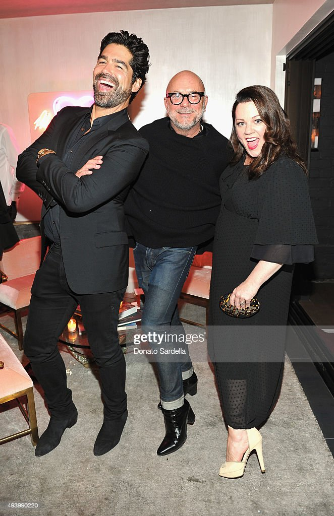 Hosts Brian Atwood, Eric Buterbaugh and Melissa McCarthy attend Brian Atwood's Celebration of PUMPED hosted by Melissa McCarthy and Eric Buterbaugh on October 23, 2015 in Los Angeles, California.