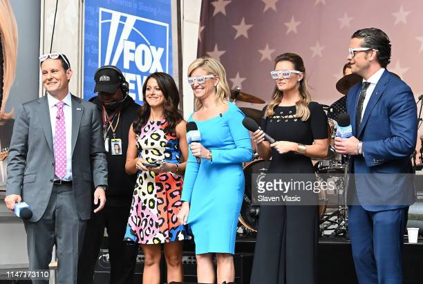 Hosts Brian Kilmeade Ainsley Earhardt Jillian Mele Pete Hegseth and guests attend FOX News Channel's Fox Friends AllAmerican Summer Concert Series...