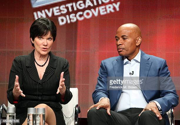 Hosts Candice DeLong and Tony Harris speak onstage during the 'A New Season of ID' panel discussion at the Investgation Discovery portion of the 2015...