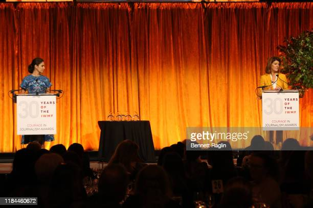 Hosts Cecilia Vega and Norah O'Donnell speak on stage at The International Women's Media Foundation's 2019 Courage In Journalism Awards at Cipriani...
