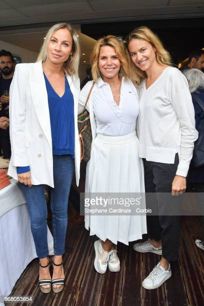 TV Hosts Charlotte Bouteloup Laura Tenoudji and Olivia De Buhren attend the 2018 French Open Day Ten at Roland Garros on June 5 2018 in Paris France