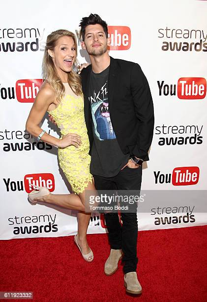 Hosts Chelsea Briggs and Hunter March attend the official Streamy Awards nominee reception at YouTube Space LA on October 1 2016 in Los Angeles...