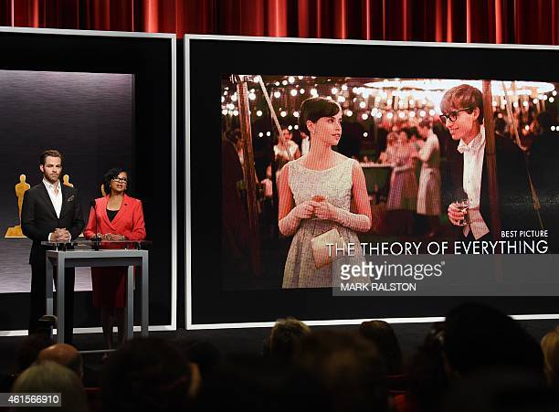 Hosts Chris Pine and Academy President Cheryl Boone announce the movie 'The Theory of Everything' as one of the Oscar nominees for Best Picture...