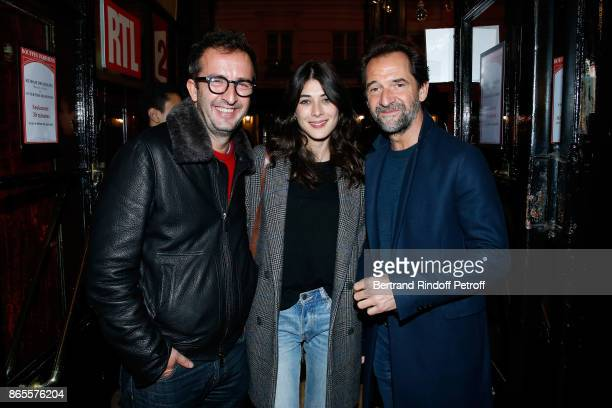 TV Hosts Cyrille Eldin his companion Sandrine Calvayrac and actor Stephane De Groodt attend the Ramses II Theater Play at Theatre des Bouffes...