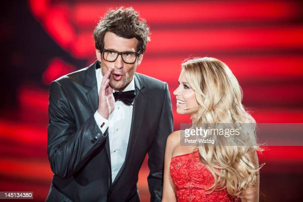Hosts Daniel Hartwich and Sylvie van der Vaart during 'Let's Dance' Finals at Coloneum on May 23 2012 in Cologne Germany
