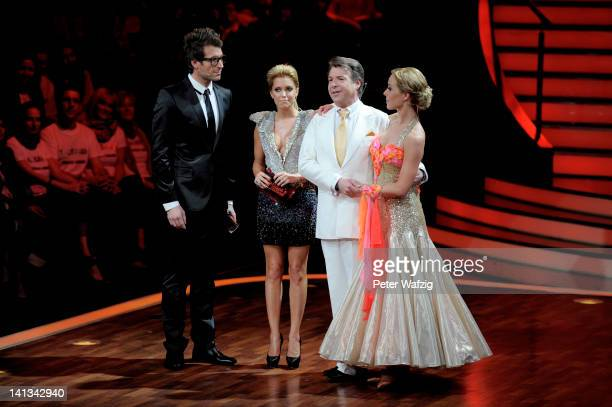Hosts Daniel Hartwich Sylvie van der Vaart and candidates Patrick Lindner and Isabel Edvardsson perform during the 'Let's Dance' TV Show on March 14...