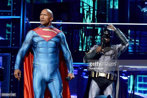 Hosts Dwayne Johnson and Kevin Hart speak onstage during the 2016 MTV Movie Awards at Warner Bros. Studios on April 9, 2016 in Burbank, California....