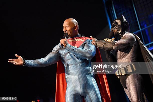 Hosts Dwayne Johnson and Kevin Hart speak onstage during the 2016 MTV Movie Awards at Warner Bros Studios on April 9 2016 in Burbank California MTV...