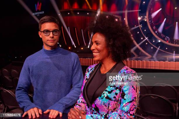 Hosts Eric Saade and Marika Carlsson meet the press ahead of the first heat of Melodifestivalen Sweden's competition to select the country's...