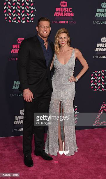 Hosts Erin Andrews and JJ Watt attend the 2016 CMT Music awards at the Bridgestone Arena on June 8 2016 in Nashville Tennessee