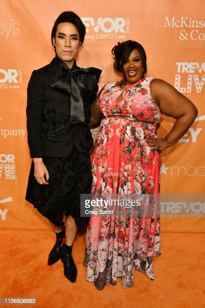 Hosts Eugene Lee Yang and Nicole Byer attend TrevorLIVE NY 2019 at Cipriani Wall Street on June 17 2019 in New York City