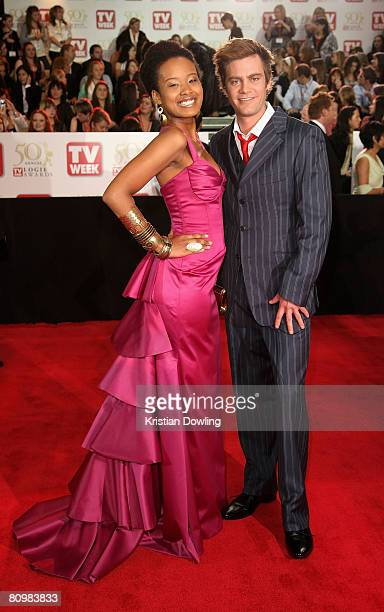 Hosts Faustina 'Fuzzy' Agolley and Nathan Sapsford arrive on the red carpet at the 50th Annual TV Week Logie Awards at the Crown Towers Hotel and...