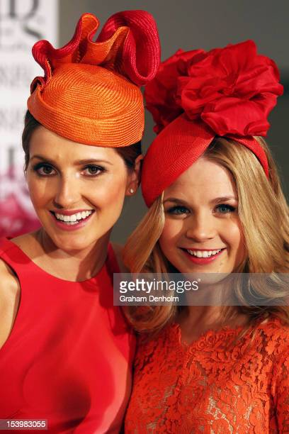 Hosts for the event Kate Waterhouse and Emma Freedman pose at the David Jones High Tea Spring Millinery Event at David Jones Bourke Street Mall on...