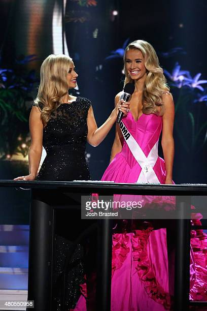 Hosts Former Miss Wisconsin Alex Wehrley speaks on stage with Miss Oklahoma Olivia Jordan at the 2015 Miss USA Pageant Only On ReelzChannel at The...
