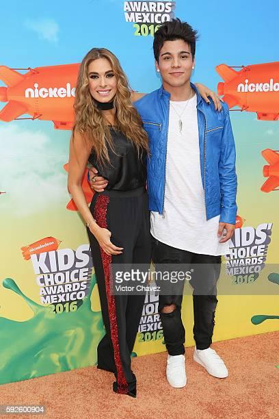 Hosts Galilea Montijo and Sebastian Villalobos arrive at the Nickelodeon Kids' Choice Awards Mexico 2016 at Auditorio Nacional on August 20 2016 in...
