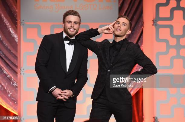 Hosts Gus Kenworthy and Adam Rippon speak onstage during The Trevor Project TrevorLIVE NYC at Cipriani Wall Street on June 11 2018 in New York City