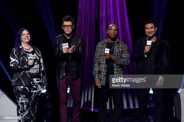 Hosts Holly Frey Bobby Bones Charlamagne tha God and Mario Lopez speak onstage at the 2019 iHeartRadio Podcast Awards Presented by Capital One at the...