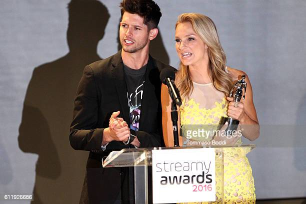 Hosts Hunter March and Chelsea Briggs speak onstage at the official Streamy Awards nominee reception at YouTube Space LA on October 1 2016 in Los...