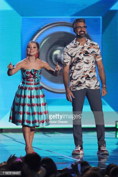 Hosts Isabella de la Torre Bala and Jaime Camil speak on stage during the Kids Choice Awards Mexico 2019 at Auditorio Nacional on August 17 2019 in...