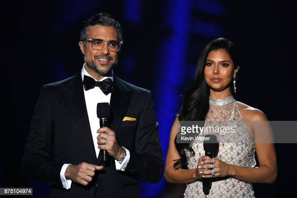 Hosts Jaime Camil and Roselyn Sanchez speak onstage at the 18th Annual Latin Grammy Awards at MGM Grand Garden Arena on November 16 2017 in Las Vegas...