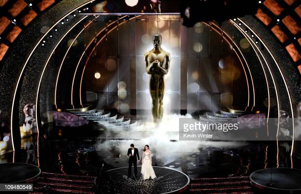 Hosts James Franco and Anne Hathaway speak onstage during the 83rd Annual Academy Awards held at the Kodak Theatre on February 27, 2011 in Hollywood,...