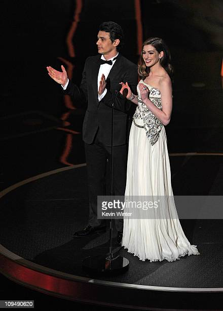 Hosts James Franco and Anne Hathaway speak onstage during the 83rd Annual Academy Awards held at the Kodak Theatre on February 27 2011 in Hollywood...