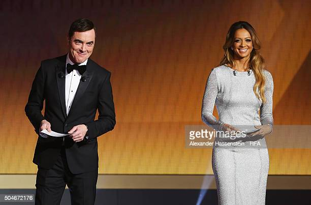 Hosts James Nesbitt and Kate Abdo talk on stage during the FIFA Ballon d'Or Gala 2015 at the Kongresshaus on January 11 2016 in Zurich Switzerland