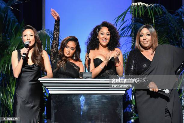 Hosts Jeannie Mai Adrienne Houghton Tamera MowryHousley and Loni Love s peak onstage at the 49th NAACP Image Awards NonTelevised Awards Dinner at the...