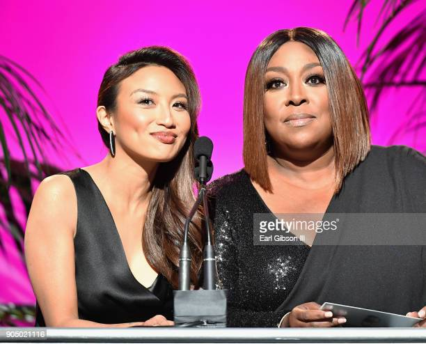 Hosts Jeannie Mai and Loni Love onstage at the 49th NAACP Image Awards Non-Televised Awards Dinner at the Pasadena Conference Center on January 14,...