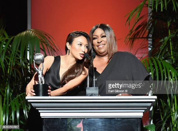 Hosts Jeannie Mai and Loni Love speak onstage at the 49th NAACP Image Awards NonTelevised Awards Dinner at the Pasadena Conference Center on January...