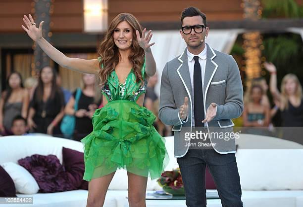 MTV hosts Jessi Cruickshank and Dan Levy speak during MTV's The Hills Live A Hollywood Ending Finale event held at The Roosevelt Hotel on July 13...