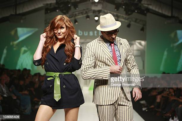 MTV Hosts Jessi Cruickshank and Dan Levy wearing Bustle Spring 2008 Collection at L'Oreal Toronto Fashion Week on October 23 2007 in Toronto Canada