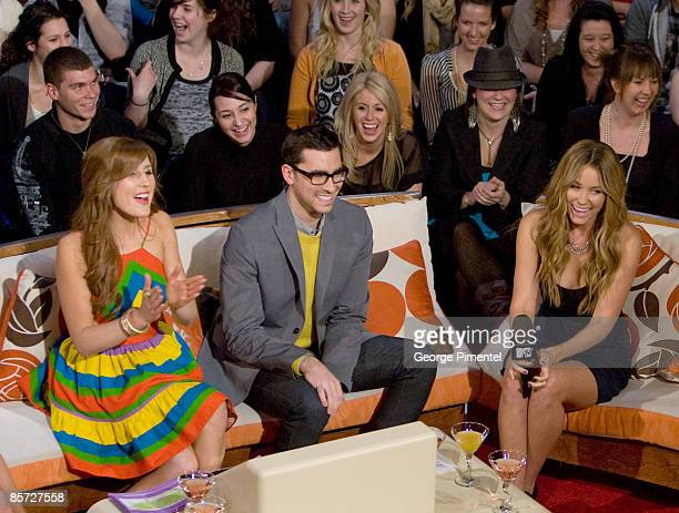 Hosts Jessi Cruickshank and Dan Levy with actress Lauren Conrad for her visit to MTV Canada to promote Season 5 of 'The Hills' at the Masonic Temple...