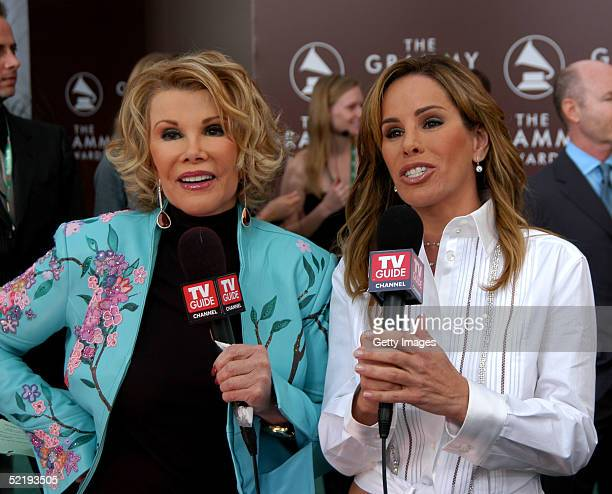 Hosts Joan and Melissa Rivers at the TV Guide stage during arrivals to the 47th Annual Grammy Awards at the Staples Center February 13, 2005 in Los...