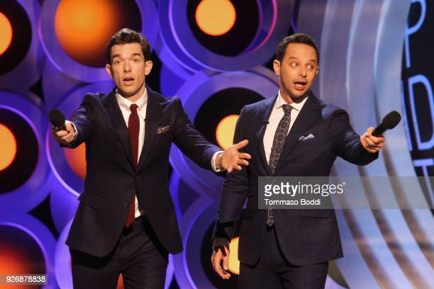 Hosts John Mulaney and Nick Kroll speak onstage during the 2018 Film Independent Spirit Awards on March 3 2018 in Santa Monica California
