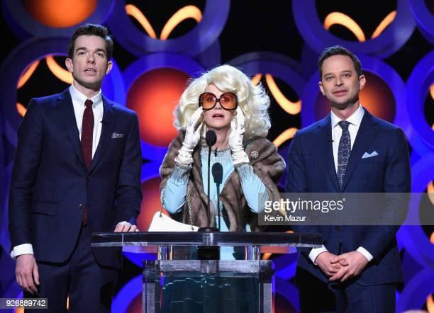 Hosts John Mulaney Kristen Wiig and Nick Kroll onstage during the 2018 Film Independent Spirit Awards on March 3 2018 in Santa Monica California