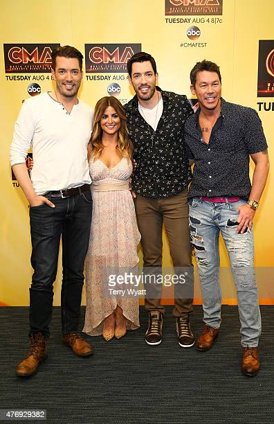 HGTV hosts Jonathan Scott Alison Victoria Drew Scott and David Bromstad attend a preshow press conference at the 2015 CMA Festival on June 12 2015 in...