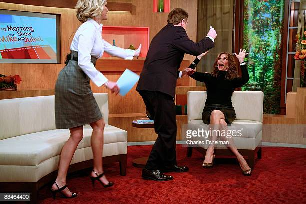 Hosts Juliet Huddy and Mike Jerrick interview actress Jaclyn Smith on FOX's The Morning Show with Mike and Juliet at FOX studios on October 28 2008...