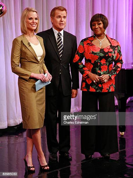 TV hosts Juliet Huddy and Mike Jerrick with singer/songwriter Patti Labelle on FOX's The Morning Show with Mike and Juliet at FOX studios on December...