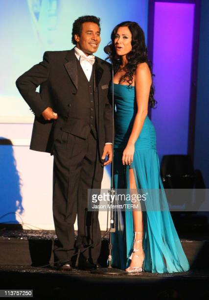 Hosts Julio Sabala and Monica Noguera during El Premio de la Gente Latin Music Fan Awards 2005 Show at The Forum in Los Angeles California United...