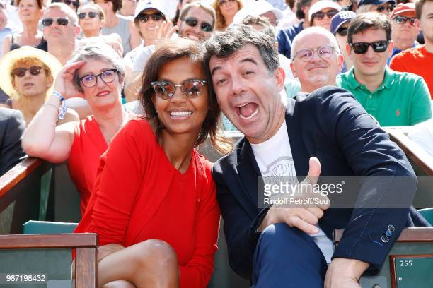 Hosts Karine Le Marchand and Stephane Plaza attend the 2018 French Open Day Nine at Roland Garros on June 4 2018 in Paris France