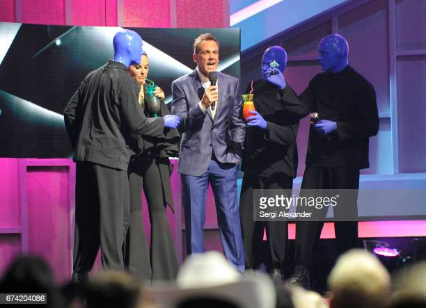 Hosts Kate del Castillo and Carlos Ponce with Blue Man Group onstage at the Billboard Latin Music Awards at Watsco Center on April 27 2017 in Coral...